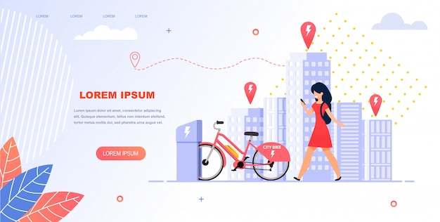 Girl student rent an electric bike. Premium Vector