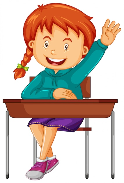 Girl student sit on the school desk Free Vector