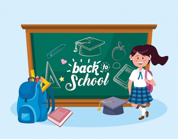 Girl student with backpack and graduation cap with book Free Vector