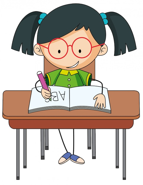 A girl studying on desk Free Vector