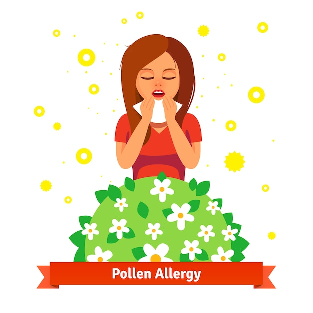 Girl suffering from spring pollen allergy Free Vector