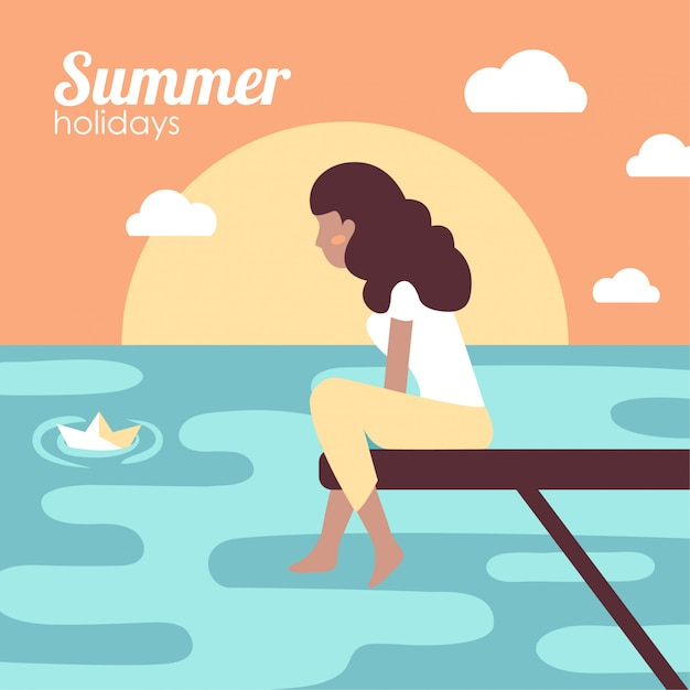 Girl on summer holidays in the sea Free Vector