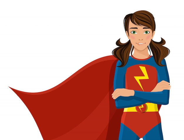 Girl in superhero costume Premium Vector
