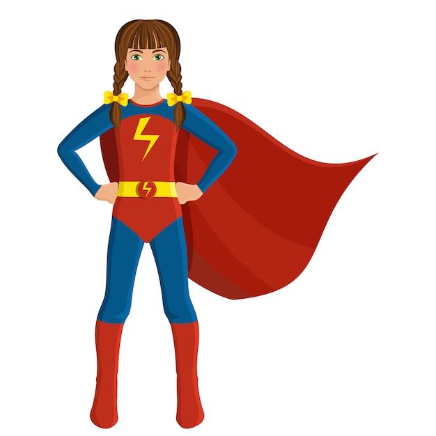Girl in superhero costume Premium Vector