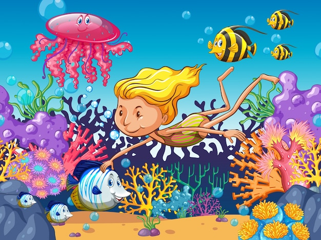 Girl swimming with sea animals underwater\ illustration