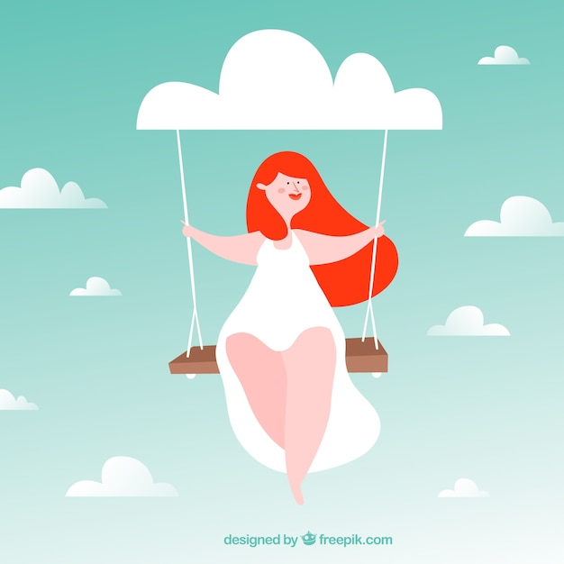 Girl swinging background on a nice day Free Vector