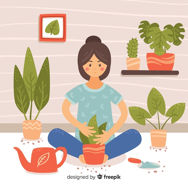 Girl taking care of plants Free Vector