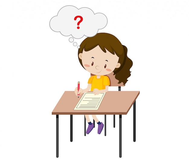 A girl taking the exam Free Vector