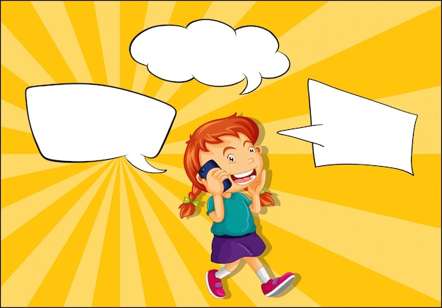 Girl talking on the phone with speech balloon Free Vector