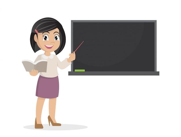 Girl in teacher teaching a lesson on the chalkboard. Premium Vector