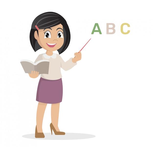 Girl in teacher teaching a lesson. Premium Vector