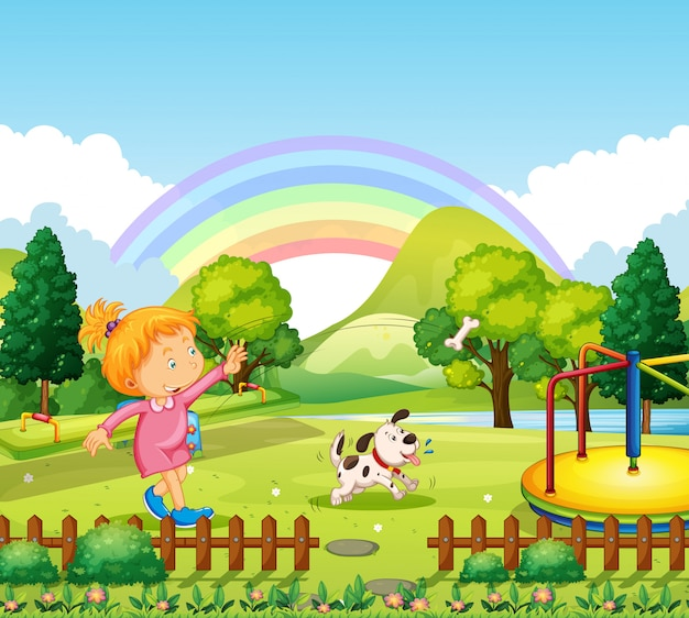 Girl throwing bone for dog in the park Free Vector