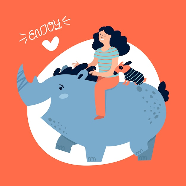Girl travel and enjoy riding a rhinoceros Premium Vector
