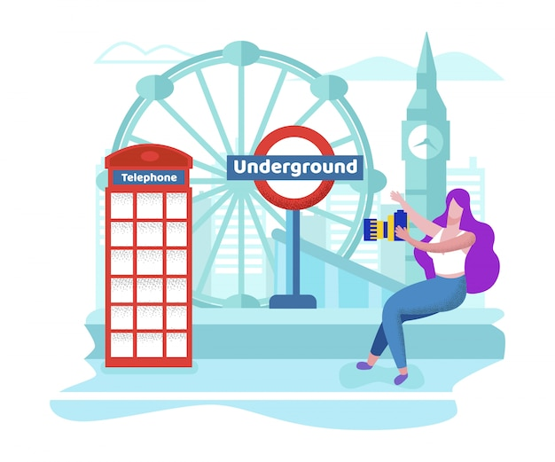 Girl traveling in england shoot london show places Premium Vector