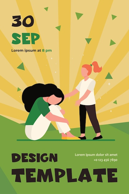 Girl trying to help sad woman. sadness, child, grief flat flyer template Free Vector