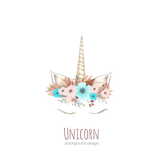 Girl unicorn card/ background in vector Premium Vector