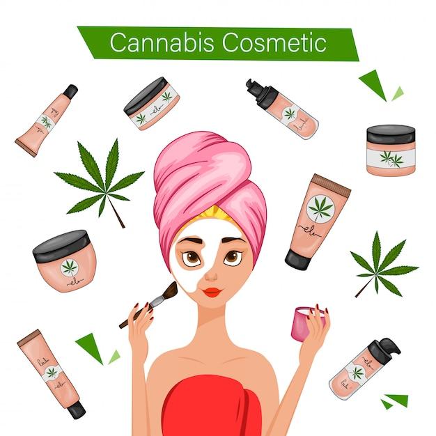 大麻化粧品を使用している女の子。漫画のスタイル。図。 Premiumベクター