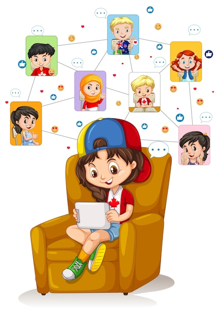A girl using tablet for communicate video conference with friends on white background Free Vector