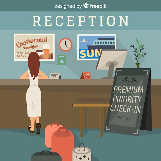 Girl waiting at a reception illustration Free Vector
