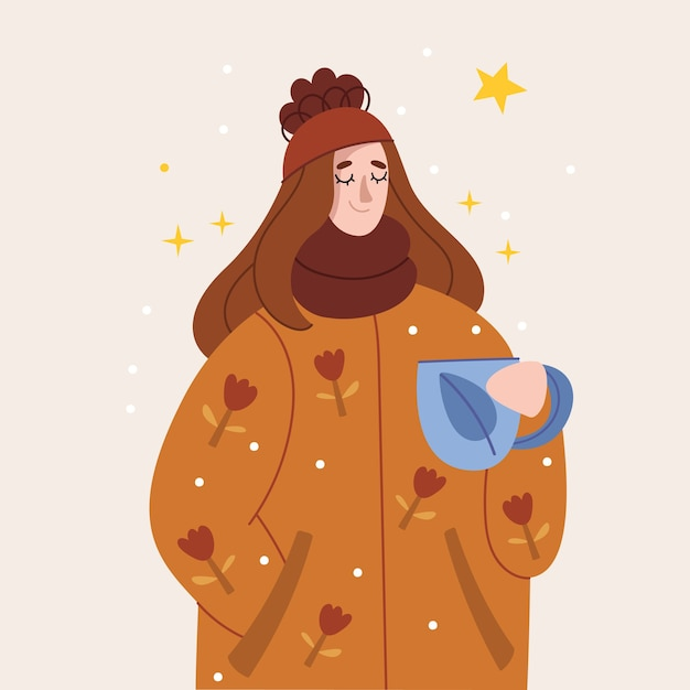 A girl in a warm jacket drinks tea, mulled wine or coffee.happy winter holidays. Premium Vector