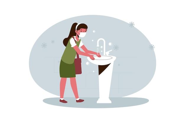 学校で手を洗う女の子 無料ベクター