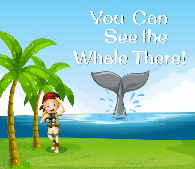 Girl watching whale in the ocean Free Vector