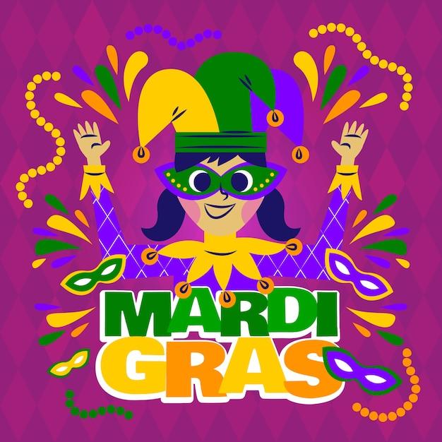 お祝い服幸せなマルディグラのカーニバルを着ている少女 無料ベクター