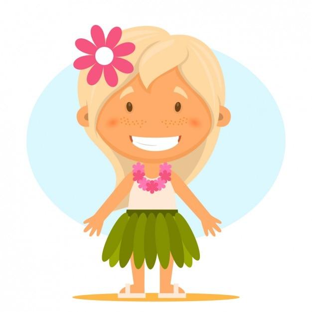 Girl wearing hawaiian clothes Free Vector