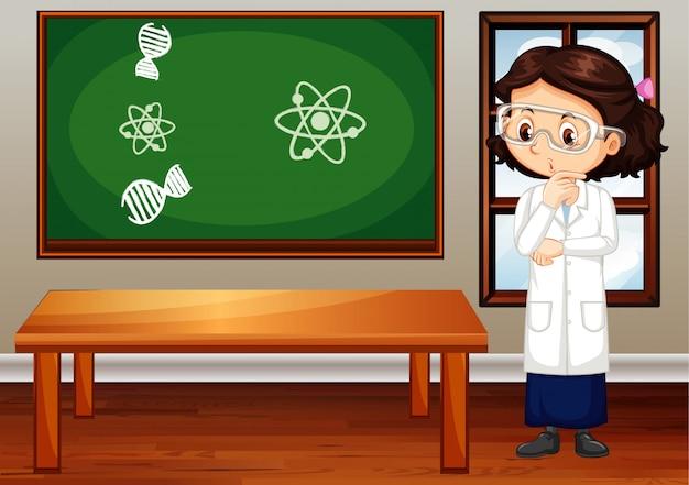 Девушка в халате и очки в комнате Бесплатные векторы