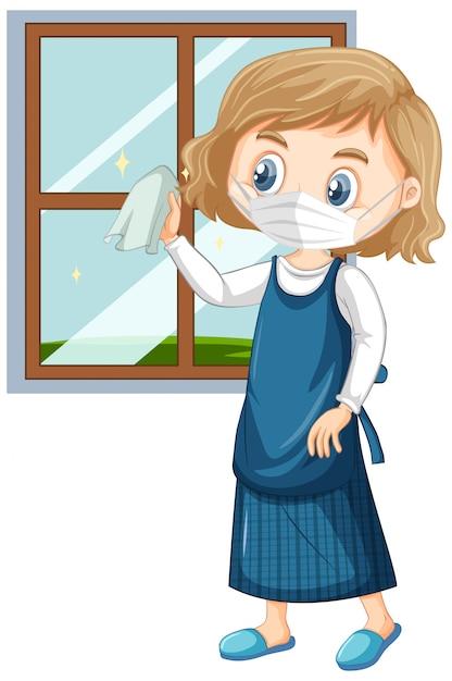 窓ガラスの洗浄マスクを着ている少女 無料ベクター