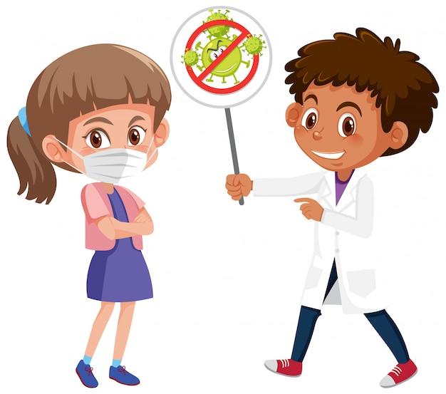 Girl wearing mask with doctor holding stop coronavirus sign Premium Vector