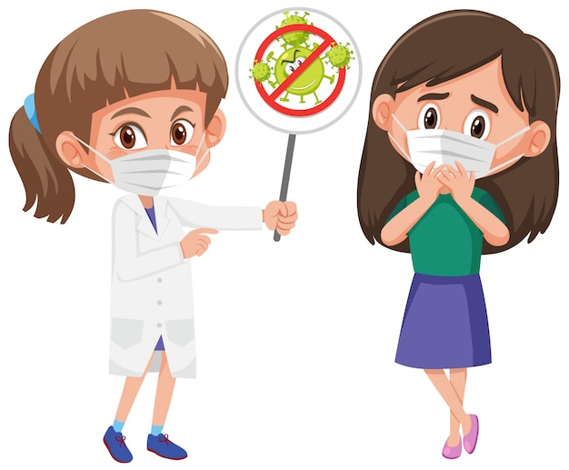 Girl wearing mask with doctor holding stop coronavirus sign Premium Vector