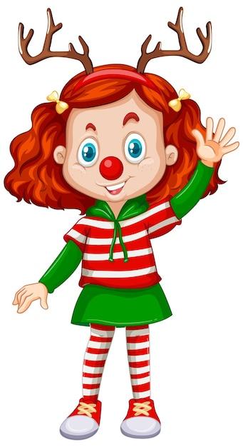 トナカイのヘッドバンドと赤い鼻のクリスマスの衣装を着ている女の子 無料ベクター