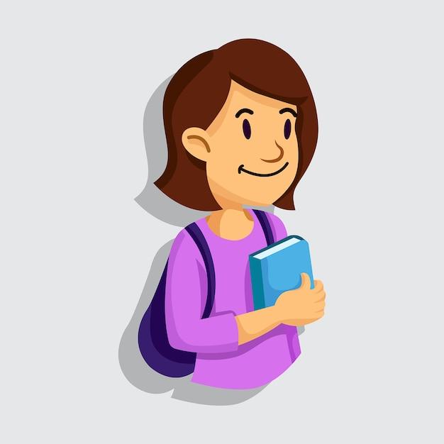 Girl will go to school or campus Premium Vector