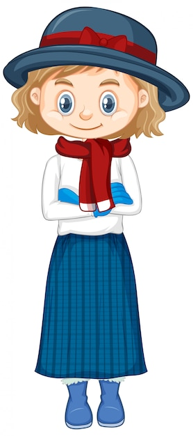 Girl in winter clothes Free Vector