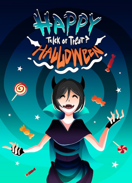 The girl in the witch costume for halloween in the candy rain.happy halloween illustration cartoon anime style. Premium Vector