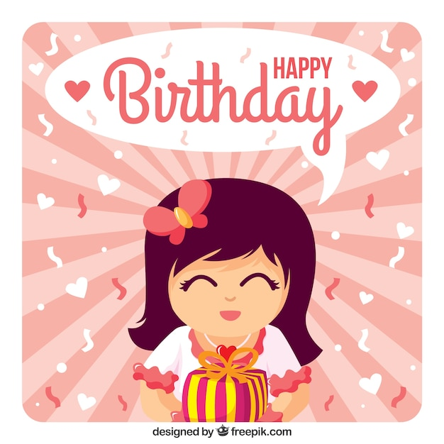 Happy Birthday Card Freepik ~ Girl with a gift happy birthday card vector premium download