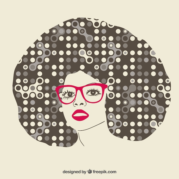 Afro Hair Vector Girl with abstract afr...