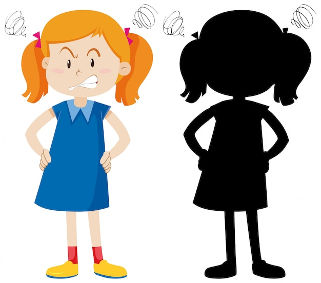 Girl with angry face in color and silhouette Free Vector