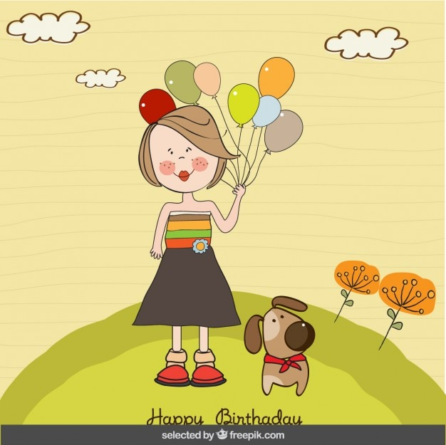 Girl with balloons and dog birthday card Vector – Birthday Card for Dog