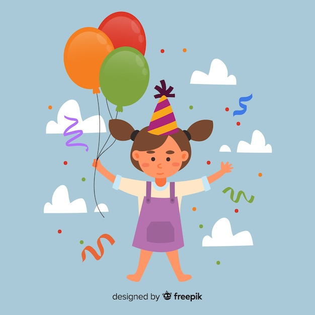 Girl With Balloons Birthday Background Vector Free Download