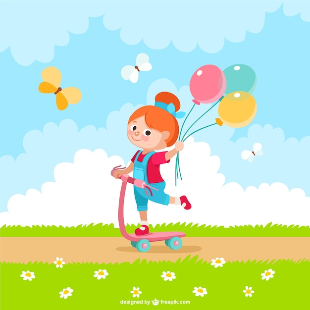 Girl with balloons cartoon Free Vector