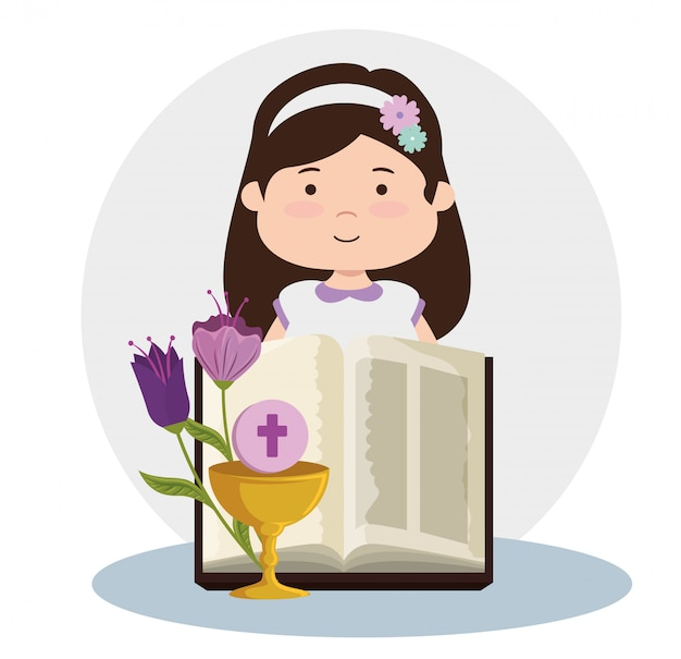 Girl with bible and chalice to first communion Free Vector