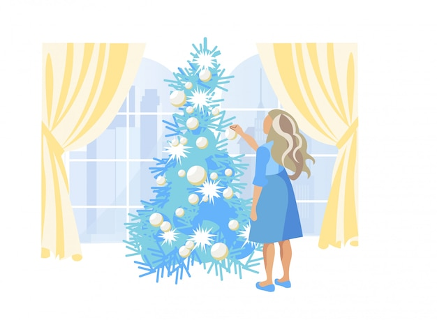 Girl with blonde hair decorating christmas tree Premium Vector