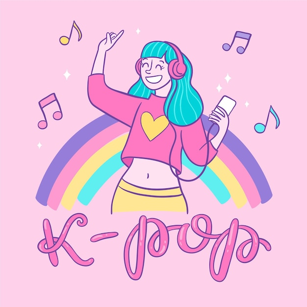 Girl with blue hair listening to k-pop music Premium Vector
