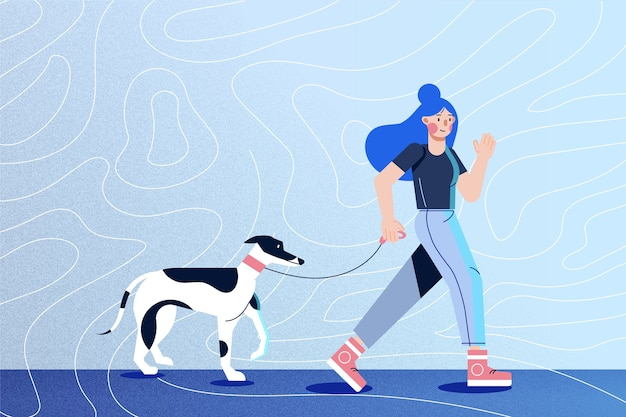Girl with blue hair waking her dog Free Vector