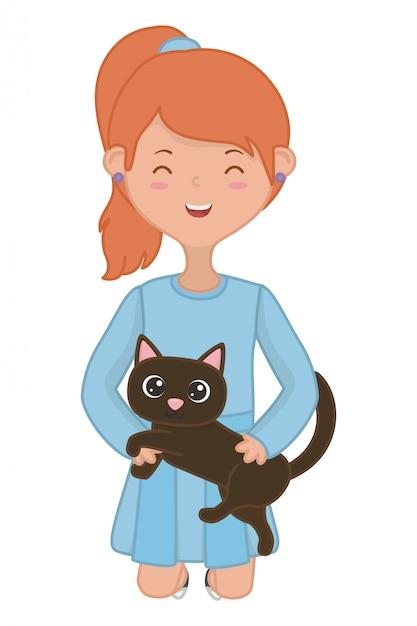 Girl with cat cartoon design Free Vector