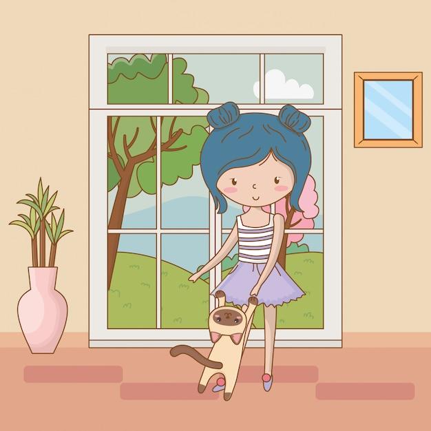 Girl with cat cartoon design Premium Vector
