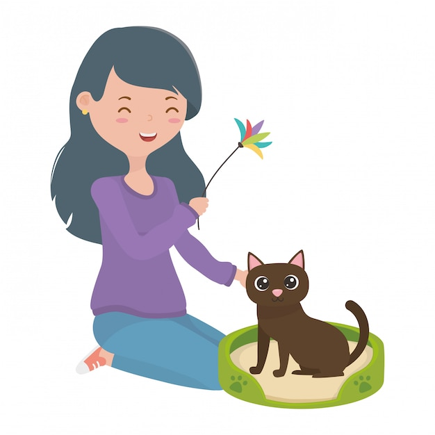 Girl with cat of cartoon Free Vector