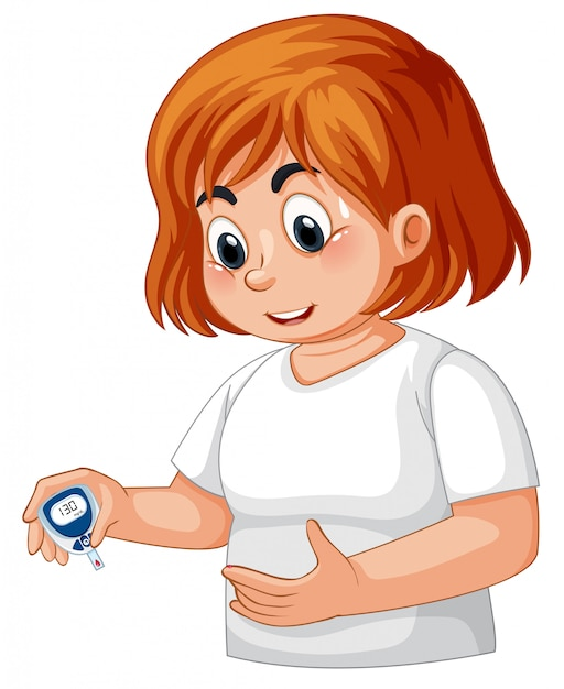 Girl with diabetes checking blood glucose Free Vector